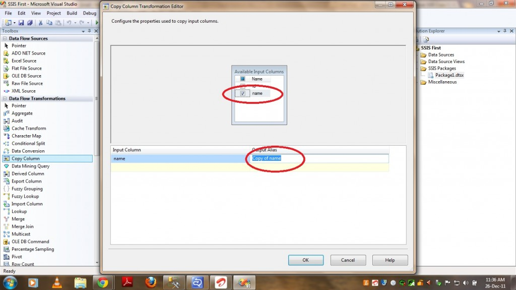 Configuring Copy Column Transformation