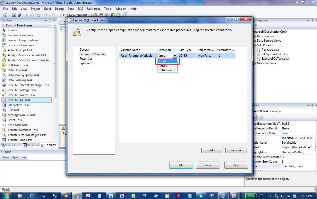 Input, Output and Return Values in SSIS Execute Sql Task | Msbi Guide